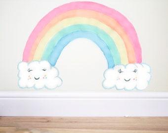 Cloud Rainbow wall decal,smile cloud,Rainbow wall decal,Cloud wall decal,Nursery clouds,pastel nursery,cloud sticker,cloud rainbow sticker,