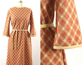 1960s Mod Palid Sheath Style Dress, Fall Dress, Belted, 3/4 Bell Sleeve, Medium