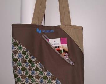 Bag, retro, over curtain fabric, inside, zipper pocket front, Streifenoptic