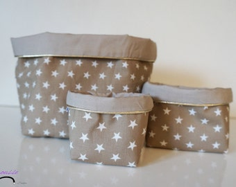 Set of baskets in cotton fabric reversible 3 sizes