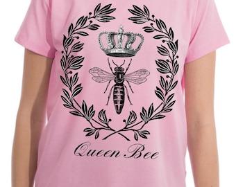Queen Bee, Bee Queen, Queen Bee Tee Shirts, Bee Tee Shirts, Queen Bee Tee, Tee Bee, Bee Tee, Queen Tee, Tee Queen, Shirts Queen, Pink, Blue