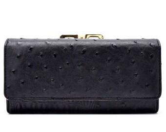 Animal Skin Textured Tri-Fold Kiss Lock Combo Wallet - Black