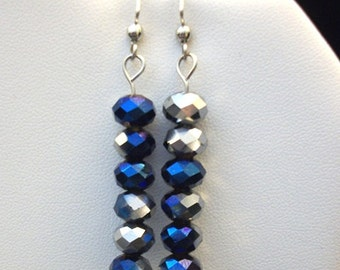 Metallic Blue and Silver Earrings