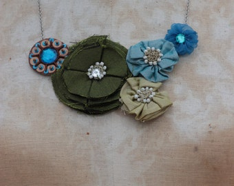 green and blue rosette necklace