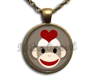 Love Sock Monkey Glass Dome Pendant or with Chain Link Necklace  AN186