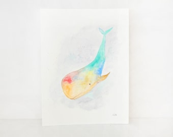 Whale original watercolor painting. Whale painting. Watercolor art. Watercolor whale art. Nursery whale art. Colorful whale painting.