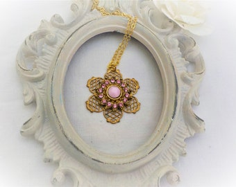 Pink Victorian brass and Crystal Necklace