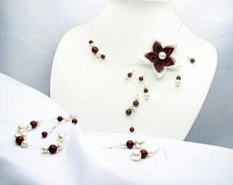 Ivory and Burgundy flower wedding set satin and pearls renaissance swarovski necklace bracelet and earrings