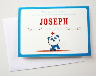 "Illustrated Birth Announcement Card ""Panda Bear"""