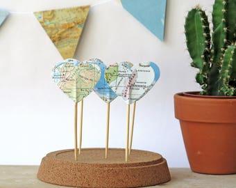 upcycled Vintage World card Cocktail sticks Heart