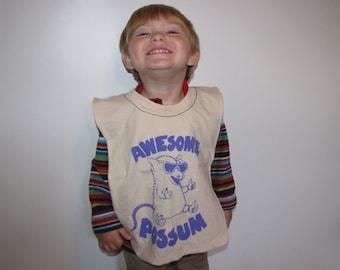 Awesome Possum--Baby/Toddler Bib, Upcycled, Recycled T-Shirt, Reversible, Large, Purple, Tie Dye, Opossum, Animal, Cool, OOAK