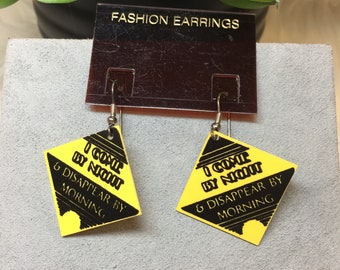 Vintage Early 90's I Come By Night Caution Earrings