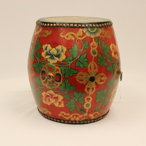 TIBET DRUM Asian Oriental Antique Tibetan Floral