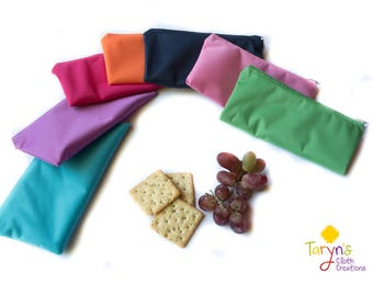 Reusable Snack Bag/ solid color/ reusable food bag/ ecofriendly snack bag/ zippered snack bag/ snack pouch/ back to school/ lunch bag/ PUL
