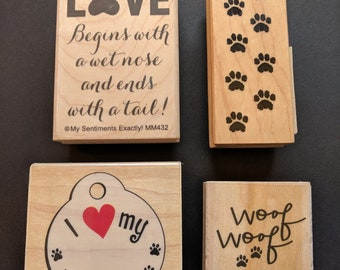 Love/Paw Wood Mounted Rubber Stamp Collection