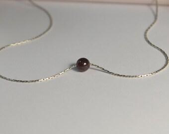 Garnet NECKLACE // Garnet Charm Necklace - Ball Necklace - Single Bead Necklace - Dot Necklace - Tiny Necklace - Drop Necklace
