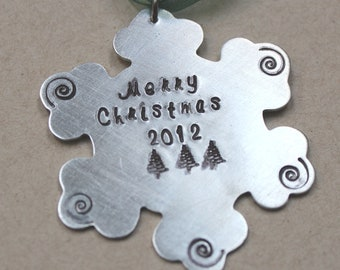 Christmas ornament Personalized ornament  snowflake ornament, family ornament, childrens names, hand stamped, decoration