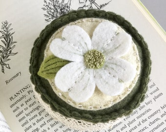 Dogwood Flower Pincushion Embroidered Wool Felt Pin Cushion Pin Keep