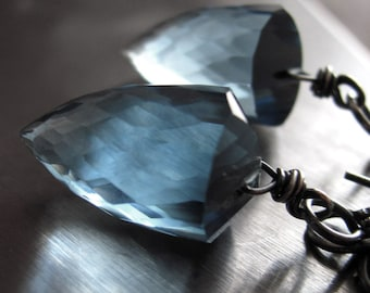 Hydro Quartz London Blue Earrings, Bullet Faceted Slate Blue Stone Drop Earrings with Oxidized Sterling Silver, Modern Jewelry, Luxury Gift