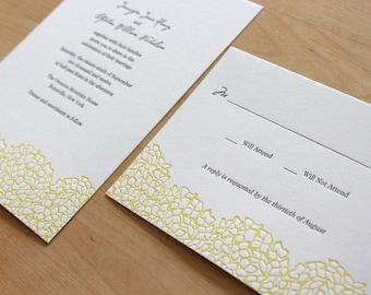Botanical Letterpress Wedding Invitation - Hydrangea (Letterpress Wedding Invitation Sample Set) - Letterpress Wedding Invitation