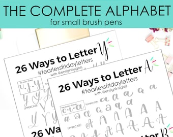 26 Ways to Letter the Complete Alphabet, Small Hand Lettering practice sheets, brush lettering, lettering  practice, lettering style