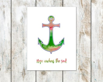 Watermelon Watercolor - Hope Anchors the Soul Inspirational Notecard - Anchor Inspired Folded Cards