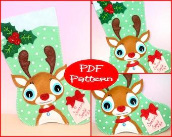 PDF Pattern - Felt Reindeer, Christmas Stocking Pattern, Christmas Decoration, Felt Reindeer, Sewing Pattern, Sewing Tutorial, Holiday Decor