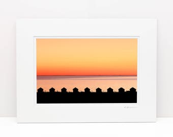 8x12 Matted Print, Cape Cod Landscape Photography, Days Cottages Photo, North Truro Provincetown MA Picture Cape Cod Bay Art Coastal Artwork