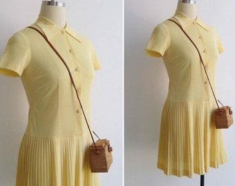 Vintage 1950s Dress Buttercream Yellow Drop Waist Knife Pleat Skirt Collared Button Down