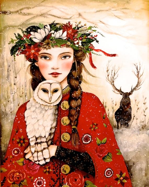 Maëlla and the owl art print