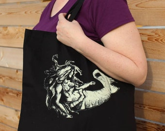Curious Mermaid Large Canvas Tote