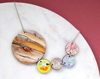 Galilean Moons Statement Necklace | Jupiter Moons | Laser Cut Jewellery
