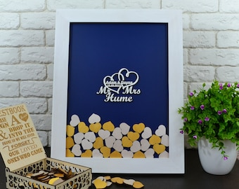 Navy Blue And Gold Wedding Guestbook Alternative MR And MRS Unique wedding guest book