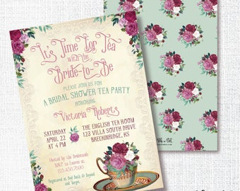 Tea Party Bridal Shower Invitation, Printable, Vintage English Tea Invite, Tea Cup, Brunch, Wedding, Dusty Rose, Marsala, Dusty Green
