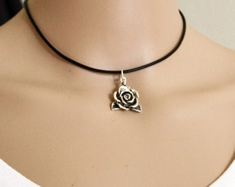 Silver Rose Choker, Black Leather Choker Necklace, Trending Leather Choker Necklace