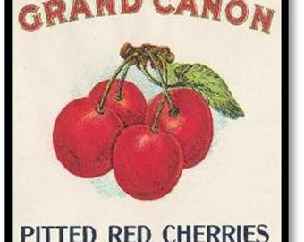 Vintage Fruit Can Crate Labels Set of 3 Art Prints Cherries Red Cherry
