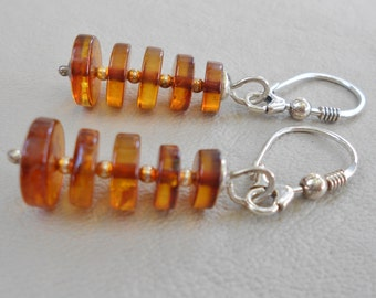 Baltic Cognac Amber Disc earrings
