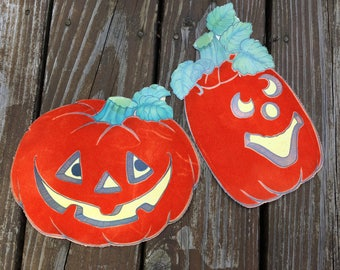 Halloween paper decorations, pumpkins, cutouts, Hallmark?, punch outs, jack o lantern