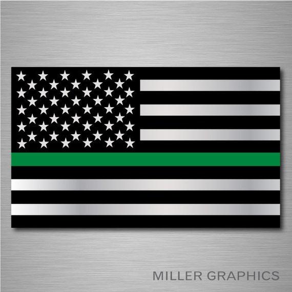 American Flag Thin Green Line Decal Sticker