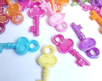 Acrylic key fobs 10 multicolored 23x10mm