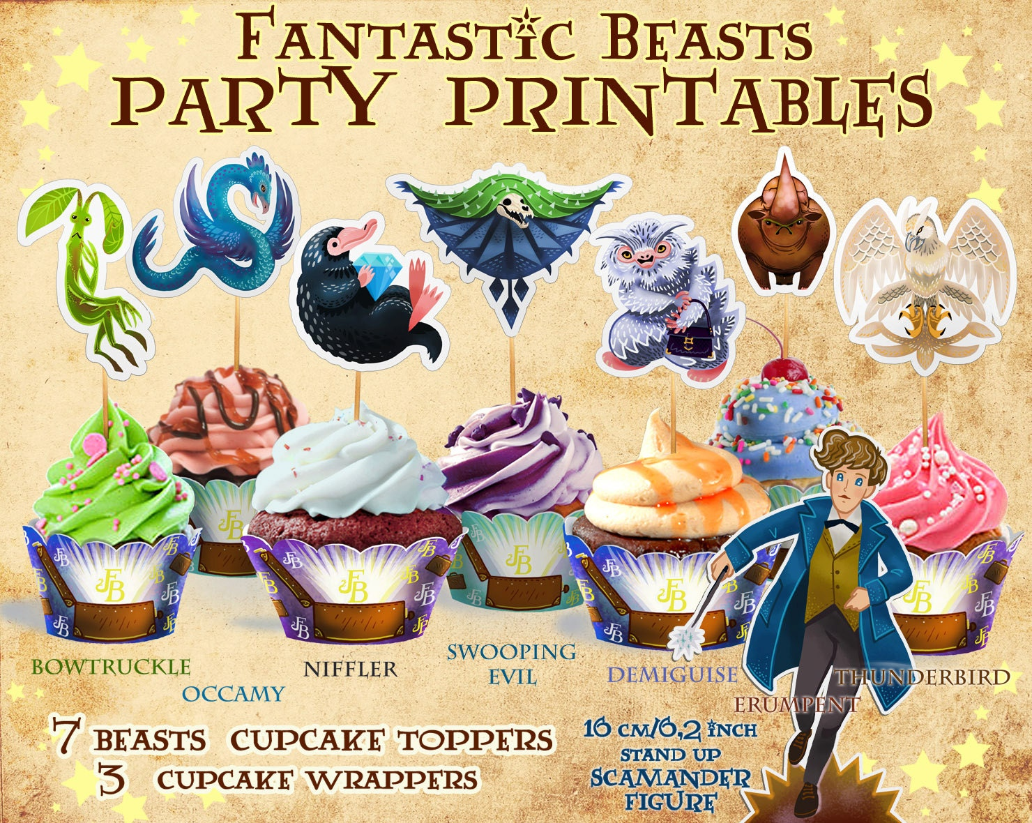 Fantastic Beasts cupcake toppers Harry Potter party Harry