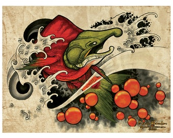 Alaskan Salmon Spawning Print