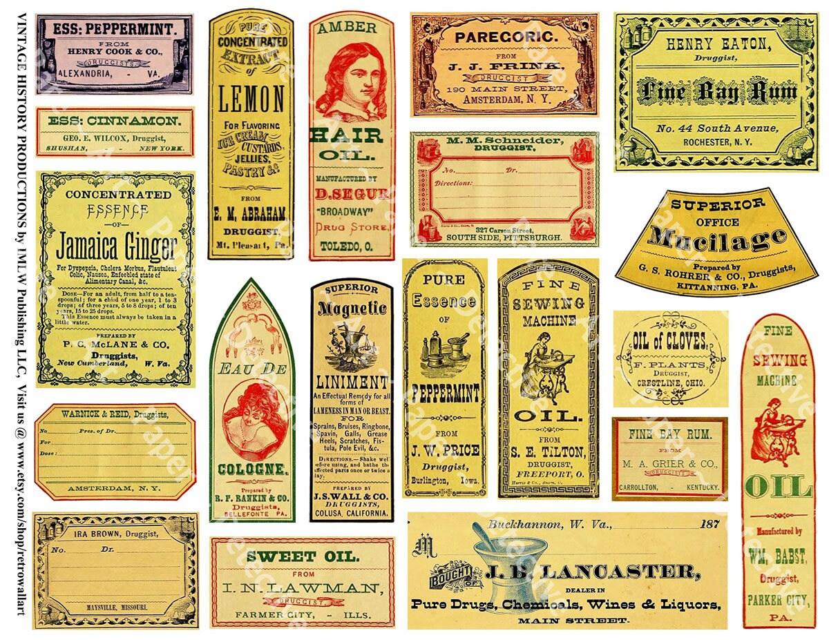 Apothecary Labels Antique Pharmacy Bathroom Decor Medicine