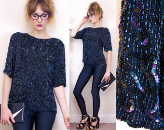 Vintage Silk Top, Sequinned, Petrol Black, Iridescent Sequin, Cocktail Party, Wedding, Evening, 80s Sequin, Womens, UK, XS, S, 6, 8, 10