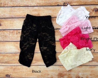Girl's Lace Capri  Pants from Baby and Me Designs