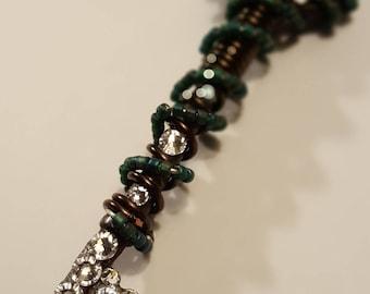 Bronze crystal drop skeleton key charm necklace (authentic vintage skeleton key)