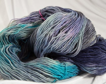 BFL Sock Yarn, hand dyed, Superwash, Stormy Sea