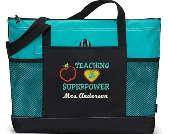 Teacher Appreciation Gift, Teaching is my Superpower Embroidered Zippered Tote Bag With Mesh Pockets, Beach Bag, Boating