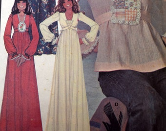 McCalls 4818 Misses' Boho Dress or Top, Size 12 Bust 34, Pullover Blouse or Dress, 1975 Flowing Hippie Dress