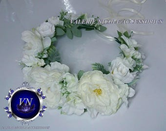 Ivory White Flower crown Floral crown Wedding flower crown Flower hair wreath Hair flower crown Bridesmaid crown